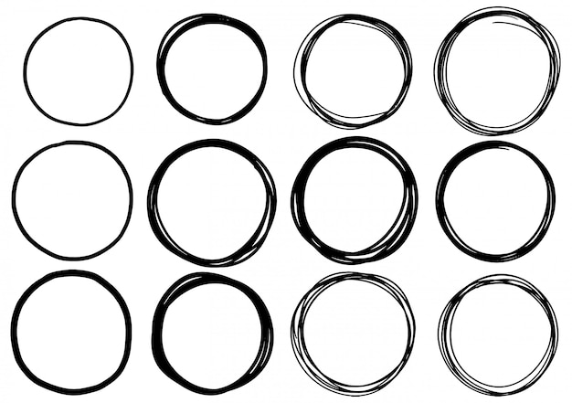 Набор рисованной каракули круг