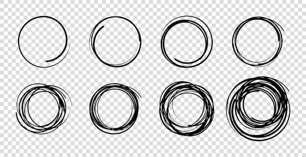 Hand drawn scribble circles set doodle circular logo design elements pencil or pen graffiti bubble