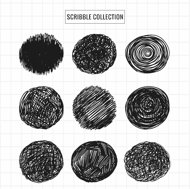 Hand drawn scribble collection set design