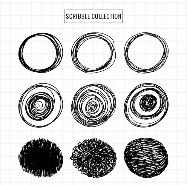 Hand drawn scribble collection sketch set design