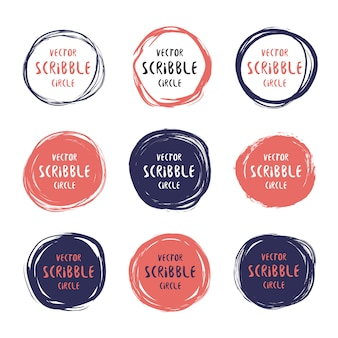 Hand drawn scribble colorful circles and labels with text set