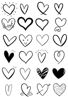 Hand drawn scribble heart collection
