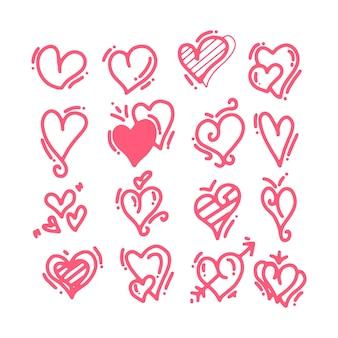 手描きの落書きの心。バレンタインデーのグリーティングカードのハート型の要素を描いた。赤い愛の心のアイコンを落書きします。白い背景の上のロマンチックなシンボルのコレクション