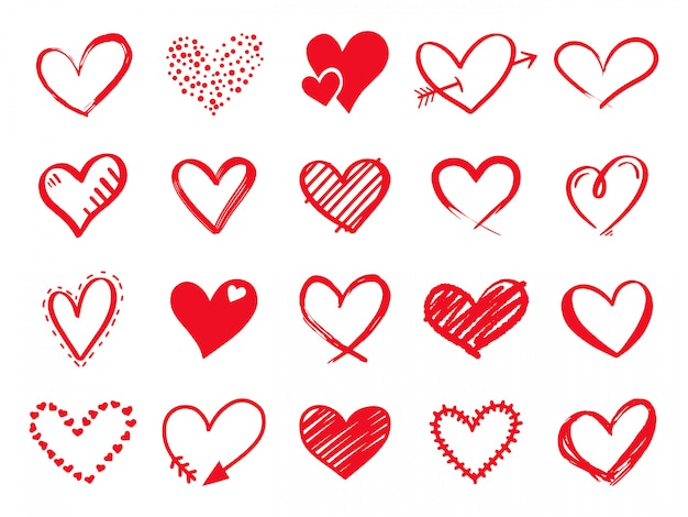 手描き落書きの心。バレンタインデーのグリーティングカードの塗られたハート型の要素。赤い愛の心のアイコンセットを落書き。白い背景の上のロマンチックなシンボルのコレクション