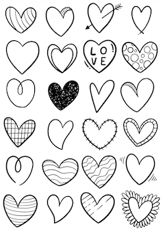 Hand drawn scribble hearts