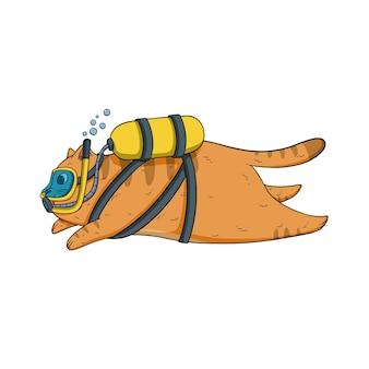 Нарисованная рукой иллюстрация кошки подводного плавания с аквалангом