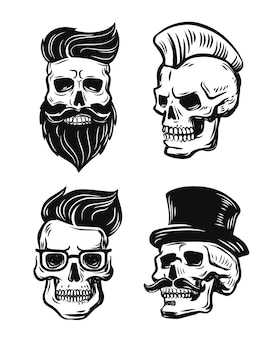 Hand drawn scull hipster set.