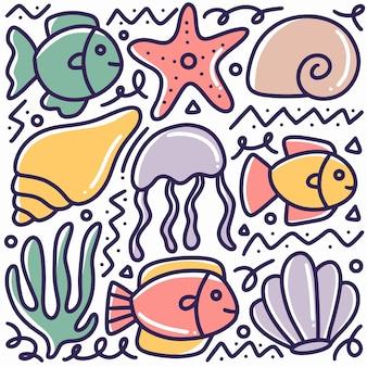 アイコンとデザイン要素で手描きの海の動物と海藻の落書き