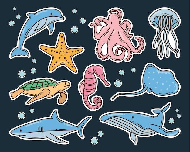 Hand drawn sea animal cartoon doodle illustration