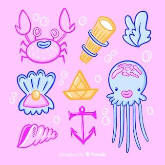Hand drawn sea animals collection