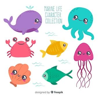 손으로 그린 바다 동물 모음