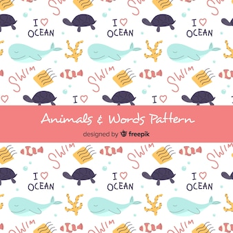 Hand drawn sea animals and words pattern