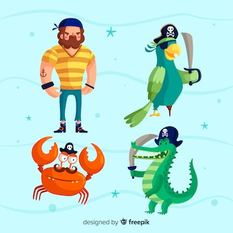 Hand drawn sea characters collection