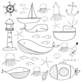 Hand drawn sea doodles set