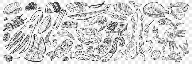 Hand drawn sea food doodle set