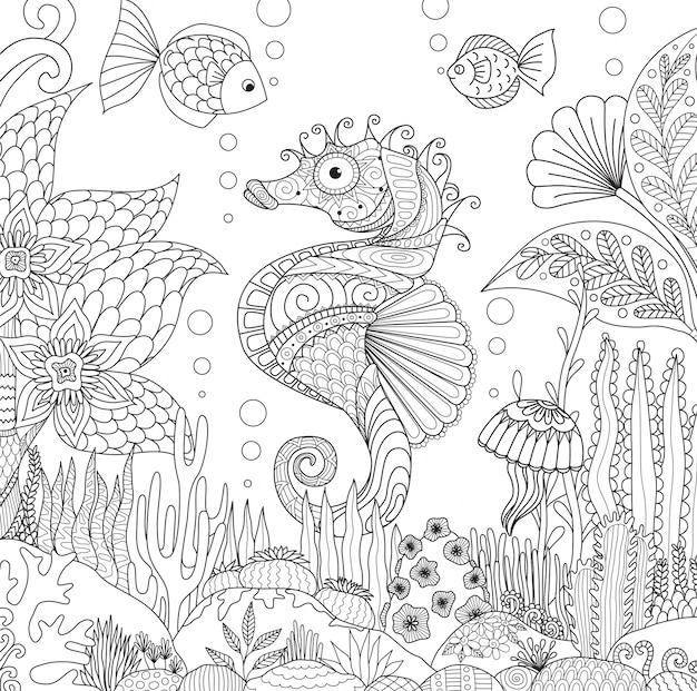 Hand drawn sea horse background
