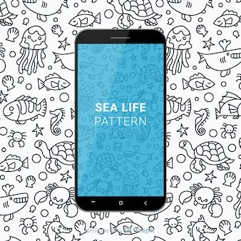 Hand drawn sea life mobile pattern