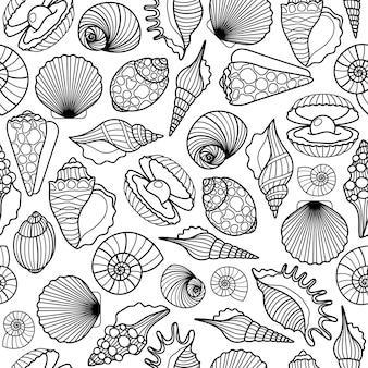 手描きの貝殻黒ベクトルシームレスパターン。貝殻テクスチャ背景