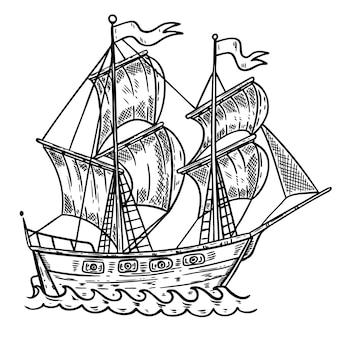 手が白い背景の海船イラストを描いた。ポスター、カード、tシャツ、エンブレムの要素。画像