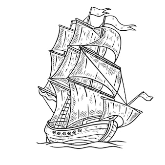 Hand drawn sea ship illustration on white background.  element for poster, card, t shirt, emblem.  image