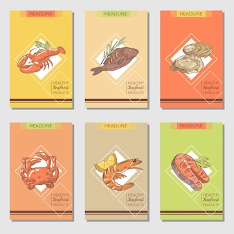 魚のカニと手描きのシーフードカードのデザイン