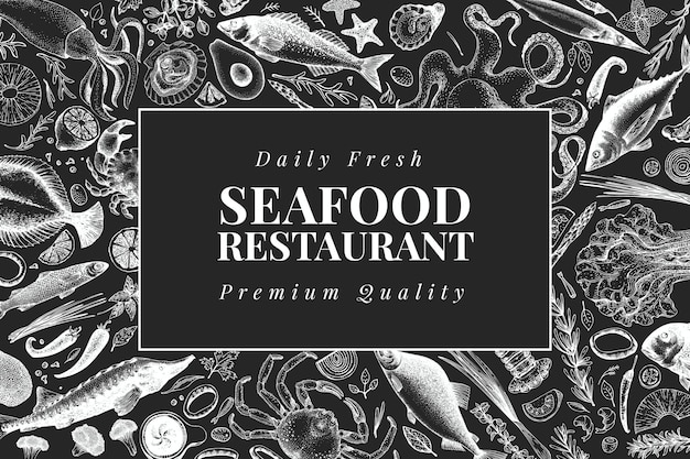 Hand drawn seafood design template. vector crabsfishes and oystrers illustrations on chalk board. vintage marine background