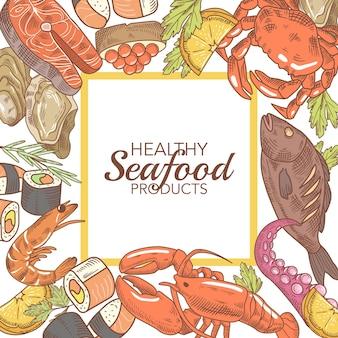 魚のカニと手描きのシーフードデザイン