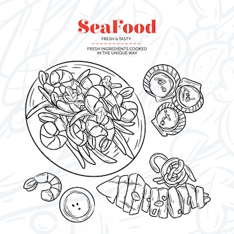 Hand drawn seafood elementes