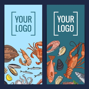 Hand drawn seafood elements banner