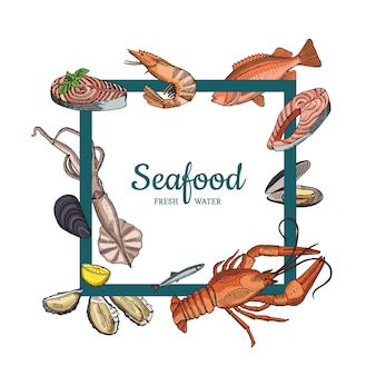 Hand drawn seafood elements flying around bold