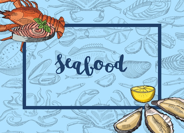 Hand drawn seafood elements incorners
