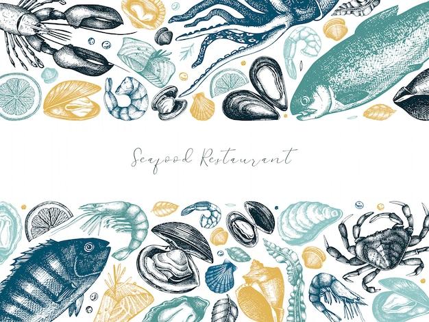 手描きのシーフードフレームの色。新鮮な魚、ロブスター、カニ、貝、軟体動物、イカ、キャビア、エビ。ビンテージシーフードスケッチメニューテンプレート