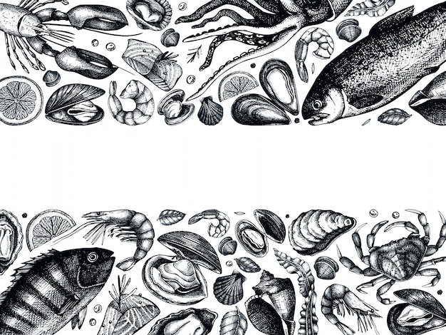 Hand drawn seafood  frame . with fresh fish, lobster, crab, shellfish, squid, mollusks, caviar, shrimps drawings. vintage sea food sketches menu template