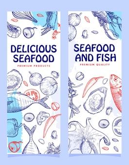 Hand drawn seafood illustration banner template design