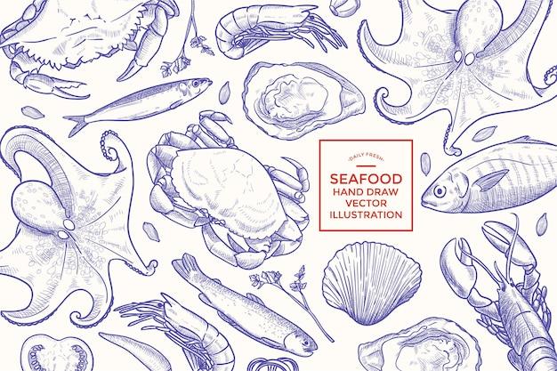 Ручной обращается морепродукты иллюстрации баннер дизайн шаблона