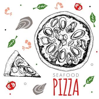 手描きのシーフードピザのデザインテンプレート。スケッチスタイルの伝統的なイタリア料理。平らな材料を落書きします。ピザ全体とスライス。メニュー、ポスター、チラシのデザインに最適です。ベクトルイラスト。