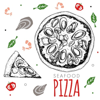 Hand drawn seafood pizza design template. sketch style traditional italian food. doodle flat ingredients. whole pizza and slice. best for menu, poster and flyers design. vector illustration.