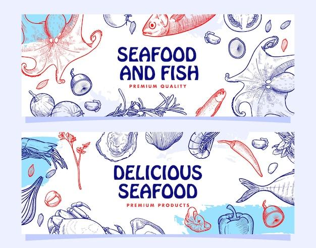 Hand drawn seafood restaurant illustration banner template