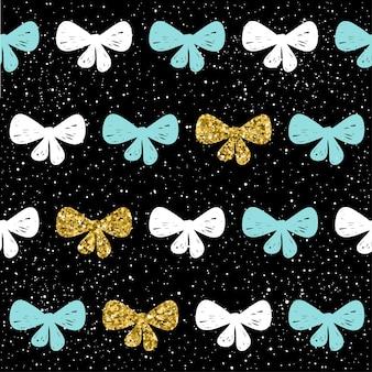 손으로 그린된 완벽 한 배경입니다. 금색, 파란색, 흰색 활입니다. 크리스마스 카드, 새해 초대장, 결혼 앨범, 책, 스크랩북, 섬유 직물, 의류, 티셔츠에 대한 추상 활 패턴입니다. 골드 질감