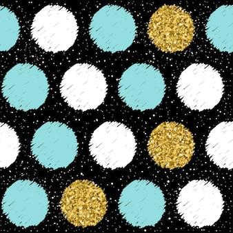 손으로 그린된 완벽 한 배경입니다. 골드, 블루, 화이트 라운드. 크리스마스 카드, 새해 초대장, 결혼 앨범, 책, 스크랩북, 섬유 직물, 의류, 티셔츠를 위한 추상 라운드 패턴. 골드 질감