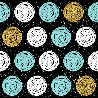손으로 그린된 완벽 한 배경입니다. 골드, 블루, 화이트 라운드. 크리스마스 카드, 새해 초대장, 결혼 앨범, 책, 스크랩북, 섬유 직물, 의류, 티셔츠를 위한 추상 라운드 패턴. 골드 질감 프리미엄 벡터