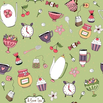Hand-drawn seamless background pattern with teacups