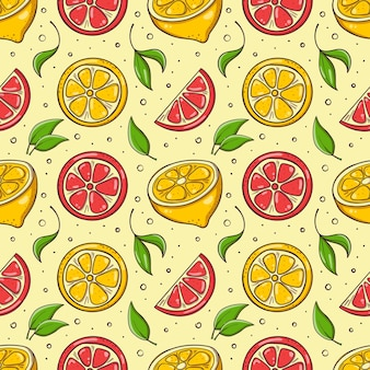 Hand drawn seamless background with lemons, grapefruits and leaves.