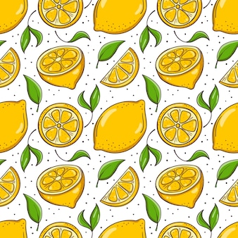 Hand drawn seamless background with lemons and leaves.
