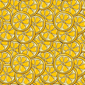 Hand drawn seamless background with lemons.