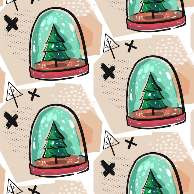 Hand drawn seamless christmas decoration pattern with colorful snow globe illustration with christmas trees,snow,crosses and geometric abstract elements.christmas decoration background.