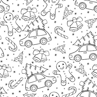 Hand drawn seamless christmas pattern in doodle style