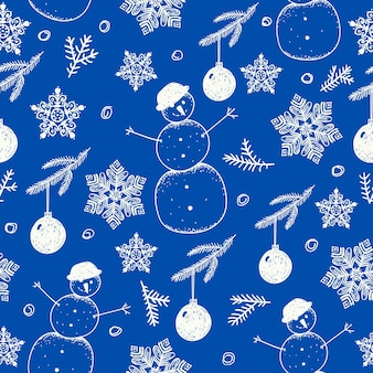 Ручной обращается бесшовные модели рождества. используйте как ткань, оберточный фон, карту и т.