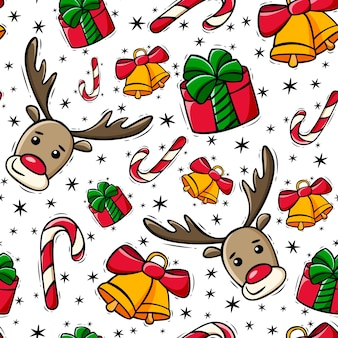 Hand drawn seamless christmas pattern with deer candy cane gift and bells in doodle style