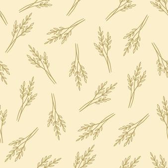 Ручной обращается бесшовные цветочный узор с простой пшеницей. стиль линии эскиза каракули.